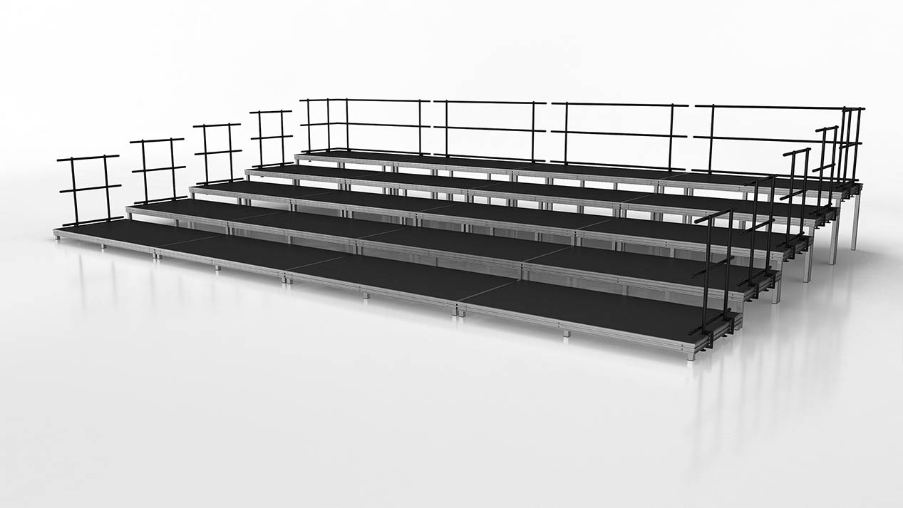 Large seated band or audience risers quarter view