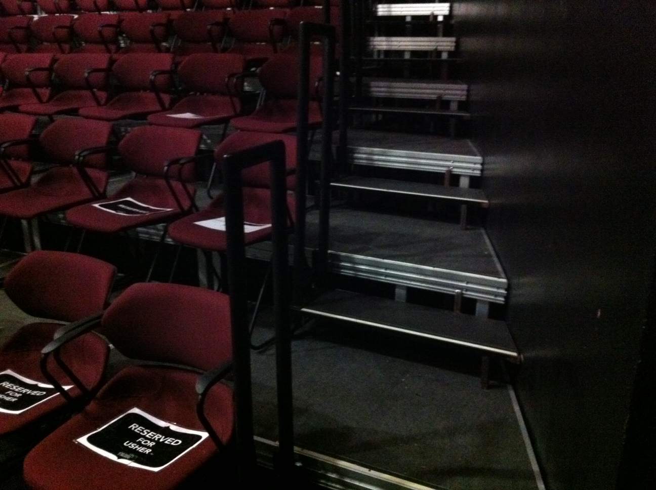theatre seating stairs with rails