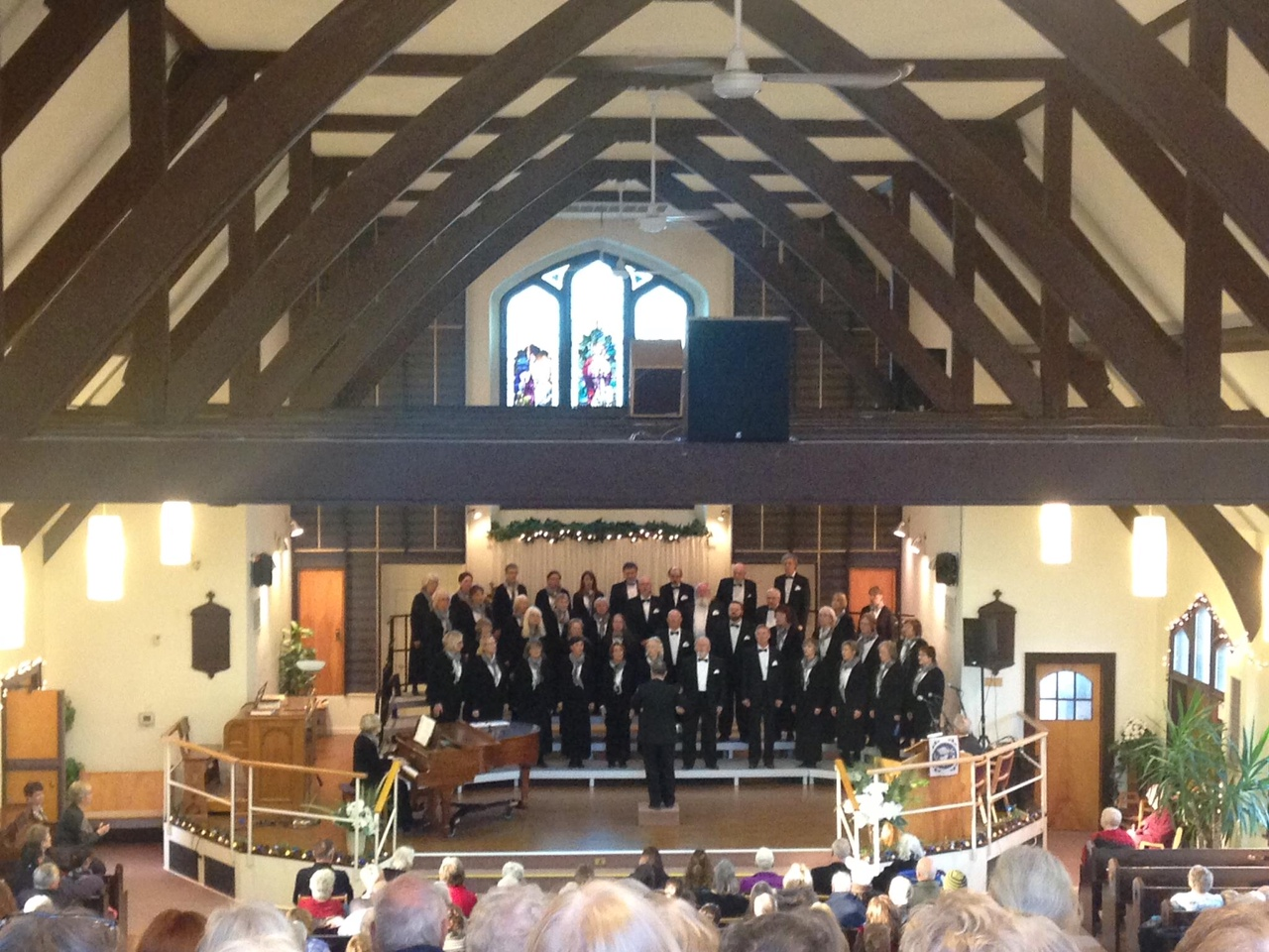 Standing choral risers in church